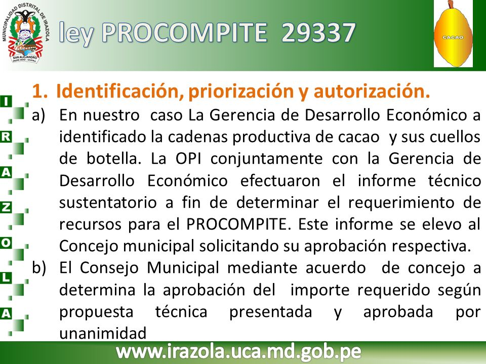 ley PROCOMPITE 29337 Identificación, priorización y autorización.