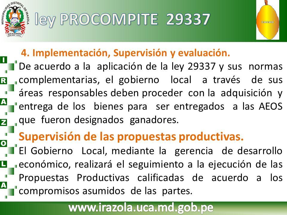 ley PROCOMPITE 29337 Supervisión de las propuestas productivas.