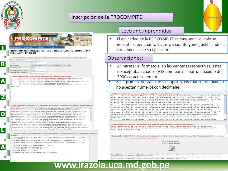 www.irazola.uca.md.gob.pe Inscripción de la PROCOMPITE