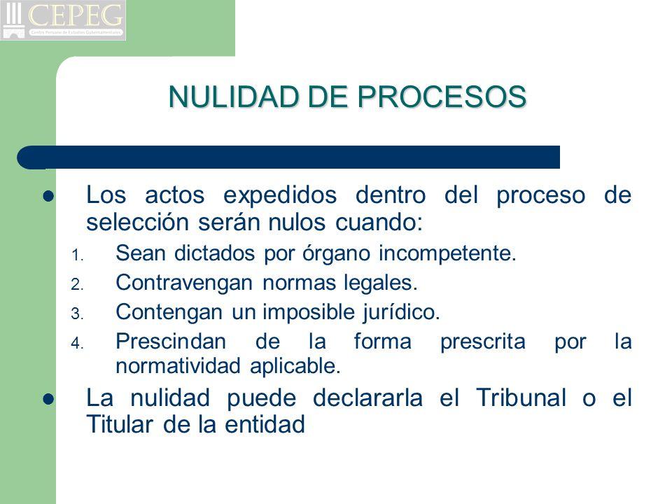 NULIDAD DE PROCESOS Los actos expedidos dentro del proceso de selección serán nulos cuando: Sean dictados por órgano incompetente.
