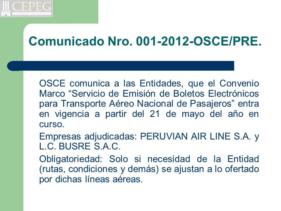Comunicado Nro. 001-2012-OSCE/PRE.