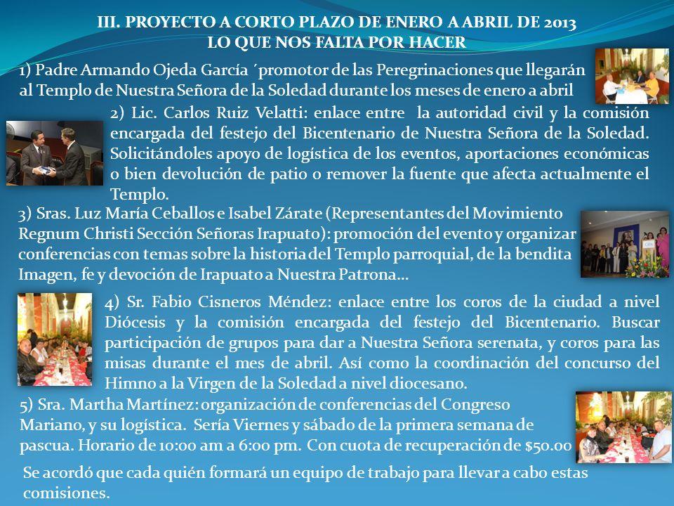 III. PROYECTO A CORTO PLAZO DE ENERO A ABRIL DE 2013