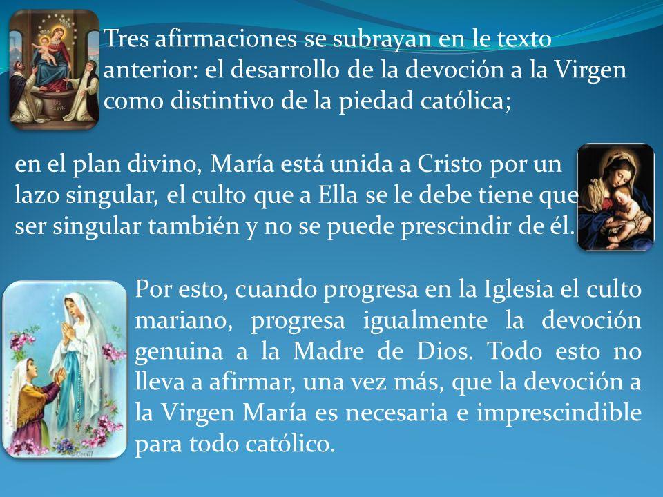 Tres afirmaciones se subrayan en le texto anterior: el desarrollo de la devoción a la Virgen como distintivo de la piedad católica;