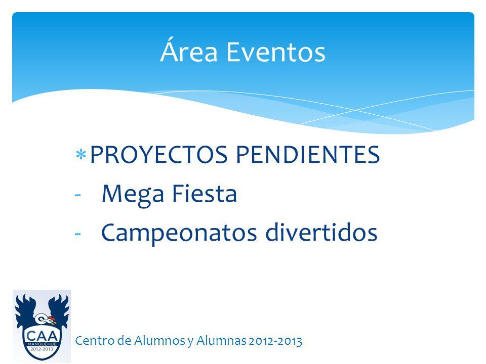 Área Eventos PROYECTOS PENDIENTES Mega Fiesta Campeonatos divertidos