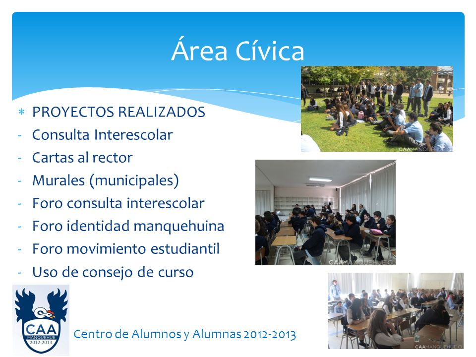 Área Cívica PROYECTOS REALIZADOS Consulta Interescolar