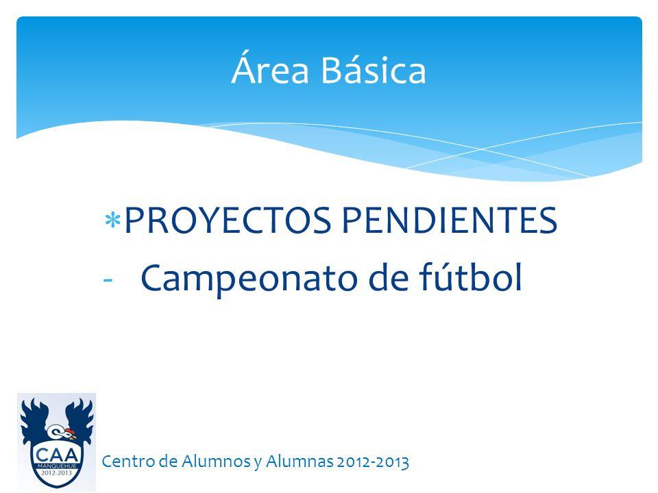 Área Básica PROYECTOS PENDIENTES Campeonato de fútbol