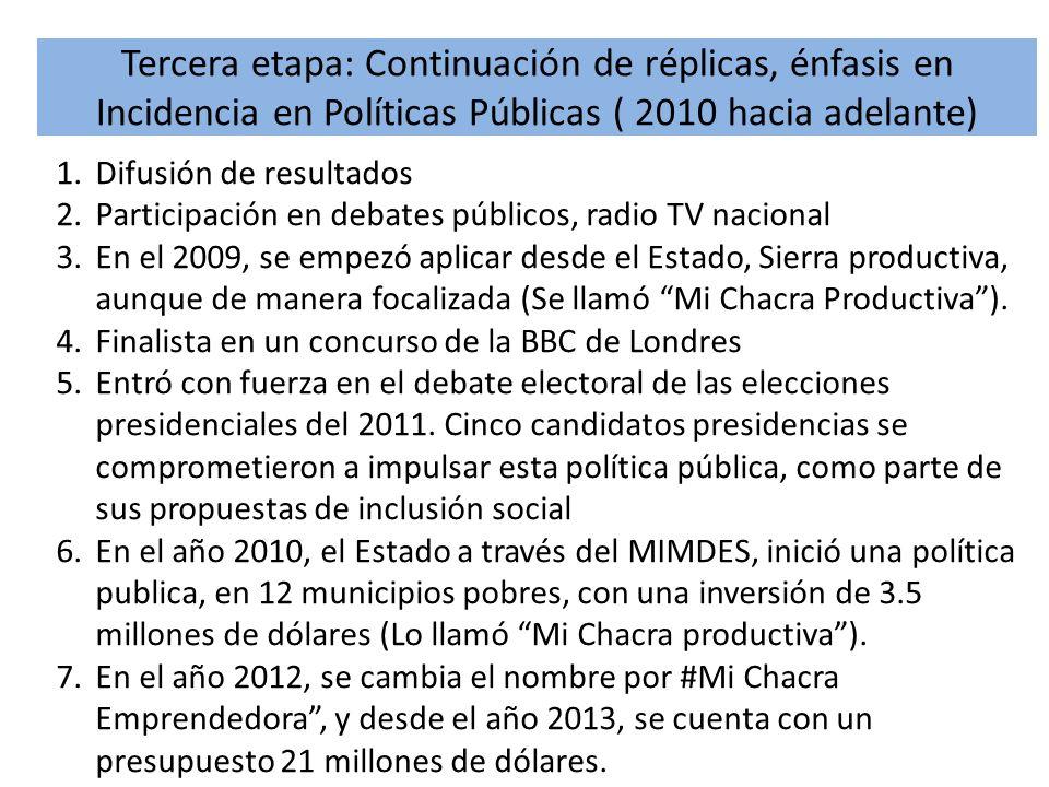 Tercera etapa: Continuación de réplicas, énfasis en Incidencia en Políticas Públicas ( 2010 hacia adelante)