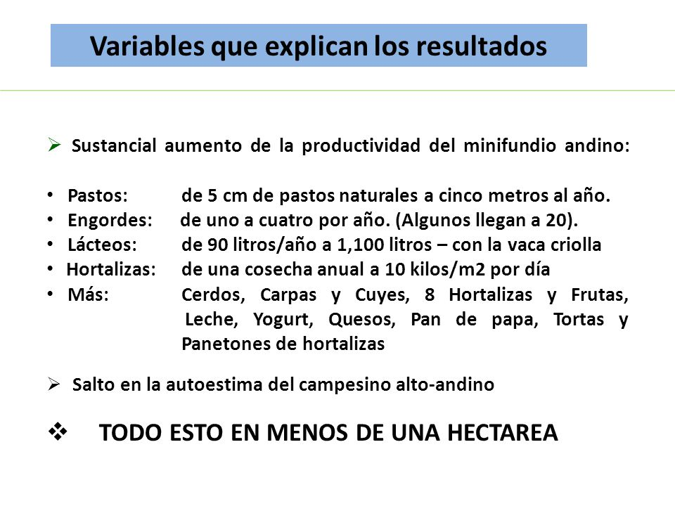 Variables que explican los resultados