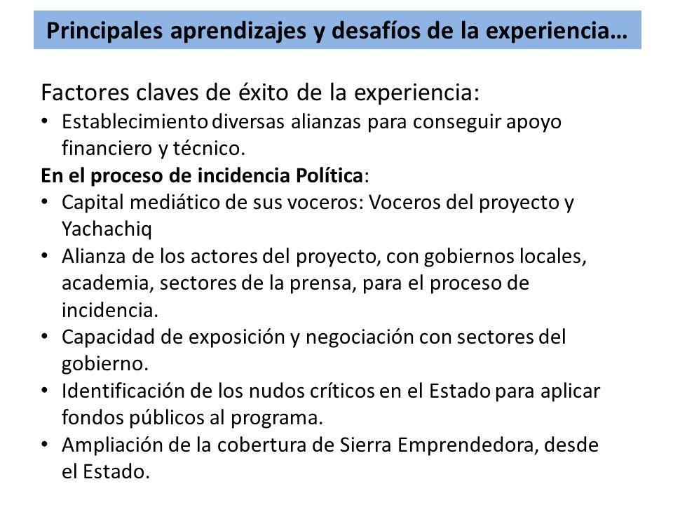 Principales aprendizajes y desafíos de la experiencia…
