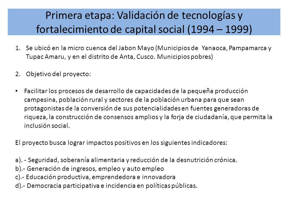 Primera etapa: Validación de tecnologías y fortalecimiento de capital social (1994 – 1999)
