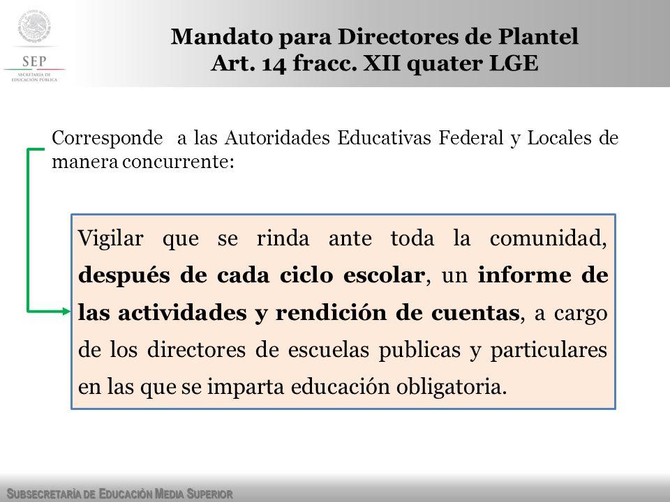 Mandato para Directores de Plantel Art. 14 fracc. XII quater LGE