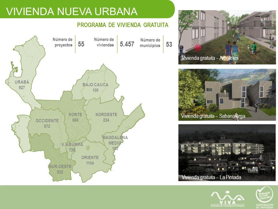 VIVIENDA NUEVA URBANA 55 5.457 53 PROGRAMA DE VIVIENDA GRATUITA