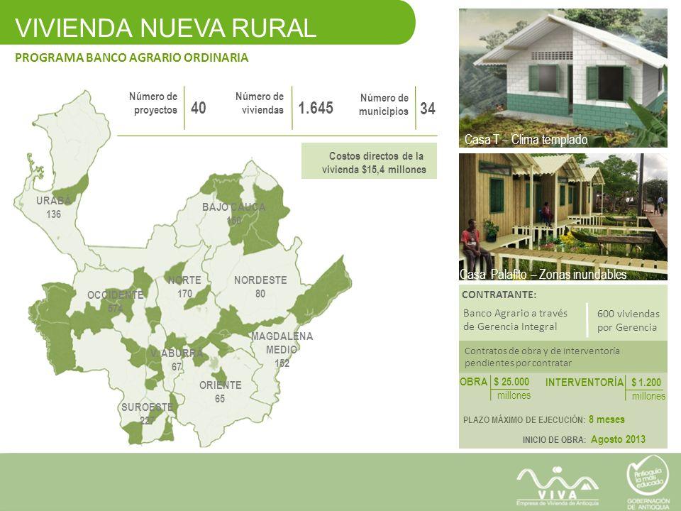 VIVIENDA NUEVA RURAL 40 1.645 34 PROGRAMA BANCO AGRARIO ORDINARIA