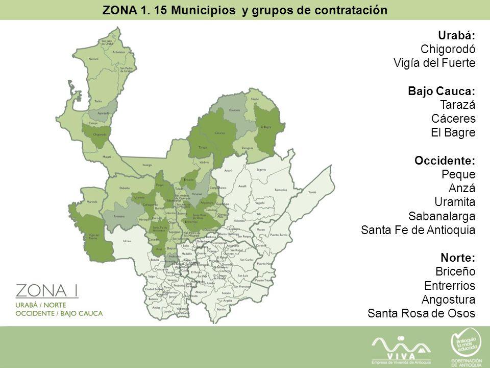 ZONA 1. 15 Municipios y grupos de contratación