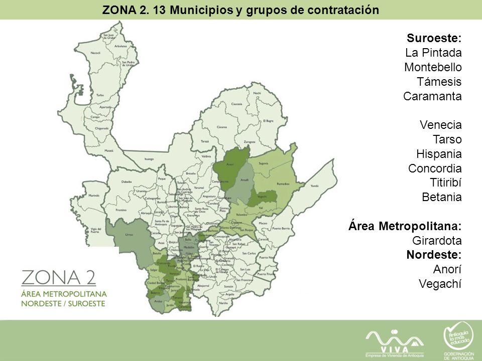 ZONA 2. 13 Municipios y grupos de contratación