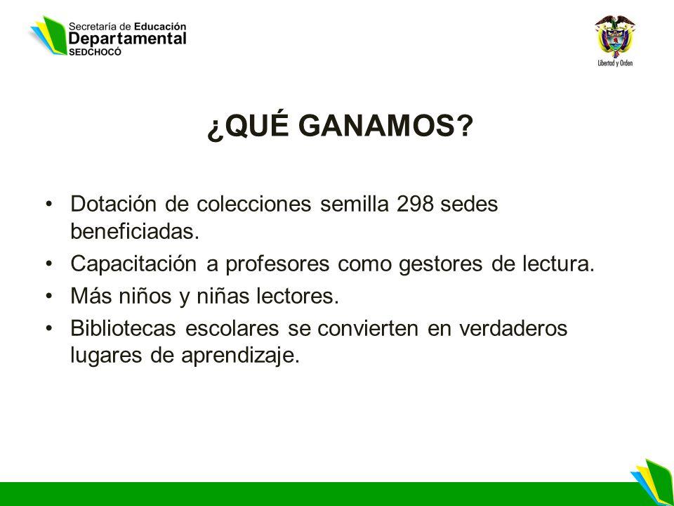 ¿QUÉ GANAMOS Dotación de colecciones semilla 298 sedes beneficiadas.