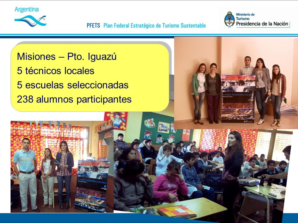 Misiones – Pto. Iguazú 5 técnicos locales 5 escuelas seleccionadas 238 alumnos participantes