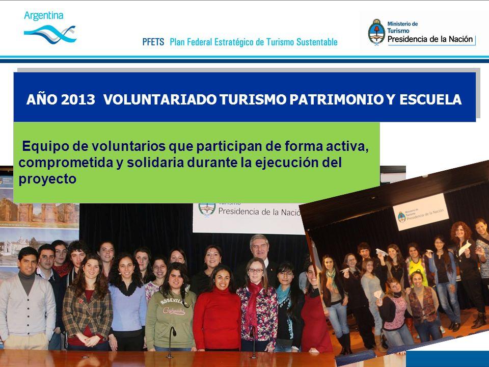 AÑO 2013 VOLUNTARIADO TURISMO PATRIMONIO Y ESCUELA