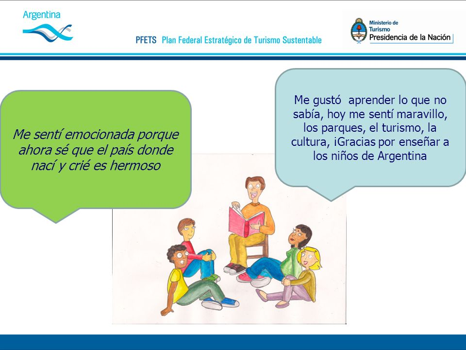 Me gustó aprender lo que no sabía, hoy me sentí maravillo, los parques, el turismo, la cultura, ¡Gracias por enseñar a los niños de Argentina