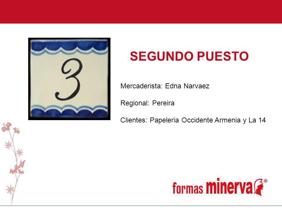SEGUNDO PUESTO Mercaderista: Edna Narvaez Regional: Pereira