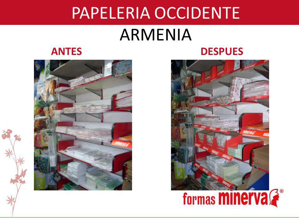 PAPELERIA OCCIDENTE ARMENIA ANTES DESPUES