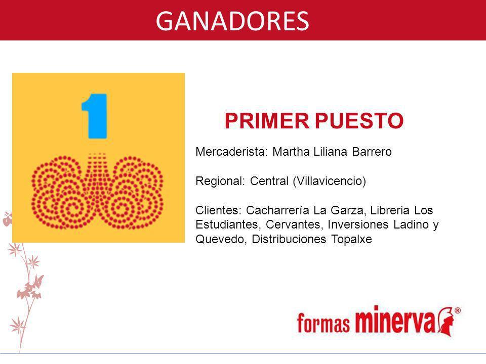 GANADORES PRIMER PUESTO Mercaderista: Martha Liliana Barrero