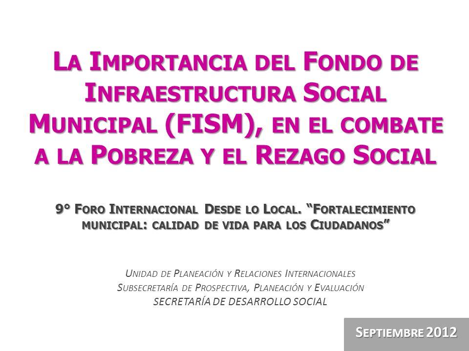 La Importancia del Fondo de Infraestructura Social Municipal (FISM), en el combate a la Pobreza y el Rezago Social 9° Foro Internacional Desde lo Local. Fortalecimiento municipal: calidad de vida para los Ciudadanos