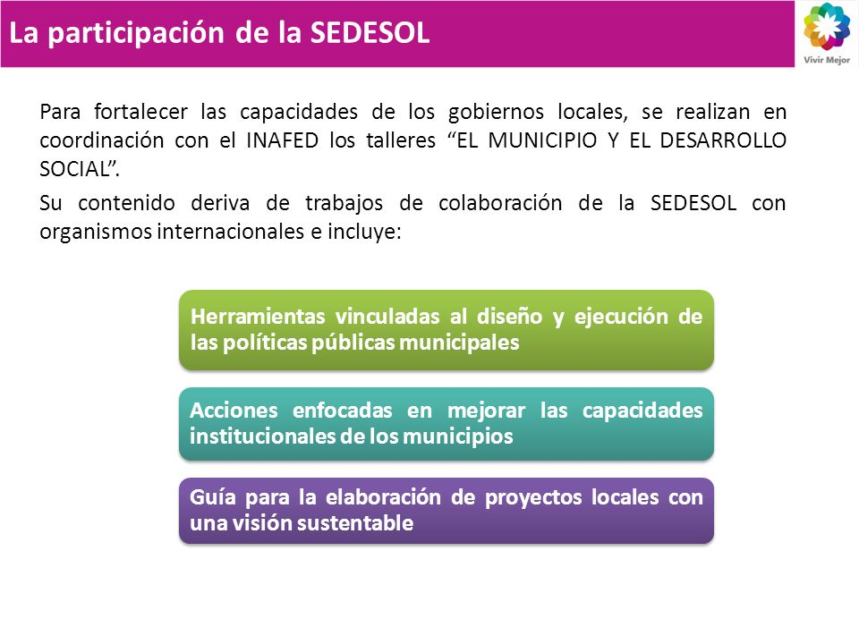 La participación de la SEDESOL