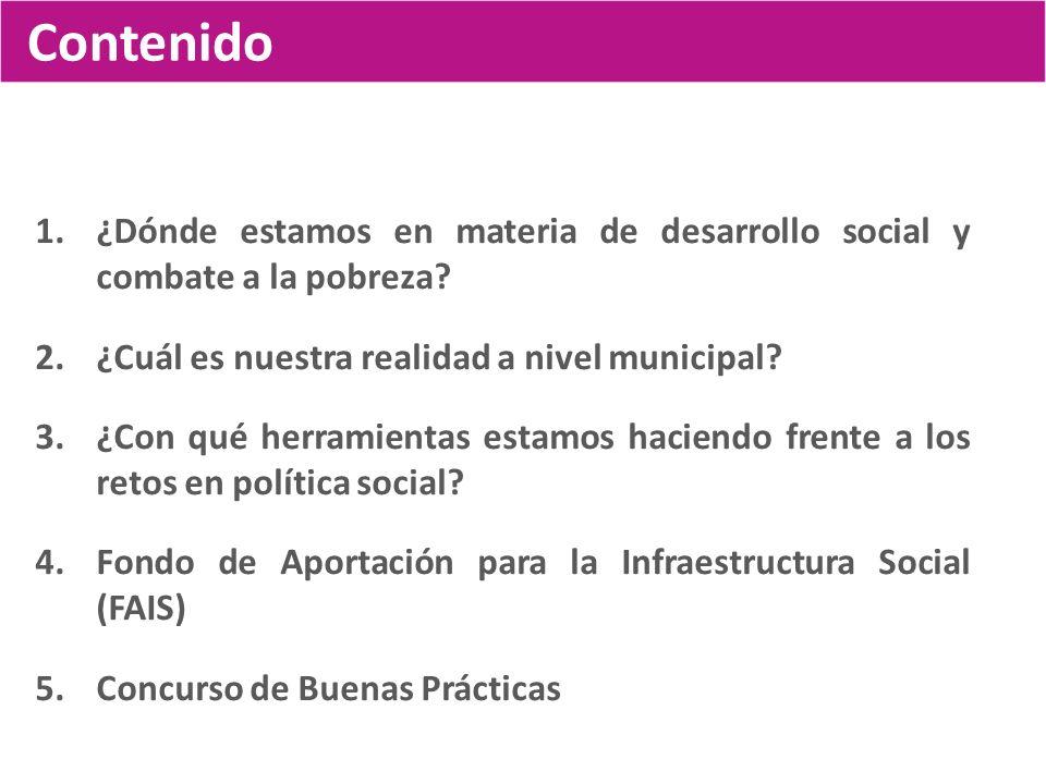 Contenido ¿Dónde estamos en materia de desarrollo social y combate a la pobreza ¿Cuál es nuestra realidad a nivel municipal