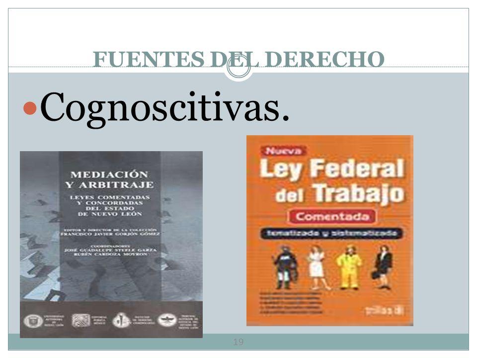 FUENTES DEL DERECHO Cognoscitivas.