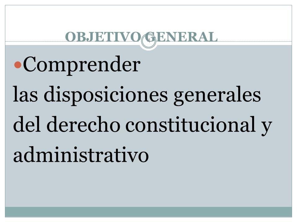 las disposiciones generales del derecho constitucional y