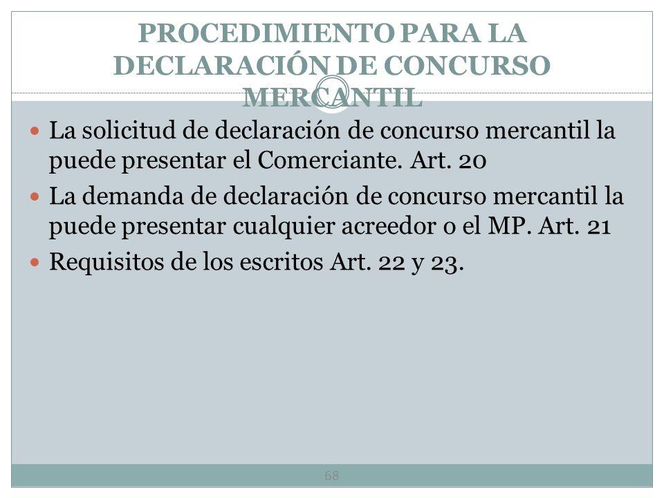 PROCEDIMIENTO PARA LA DECLARACIÓN DE CONCURSO MERCANTIL