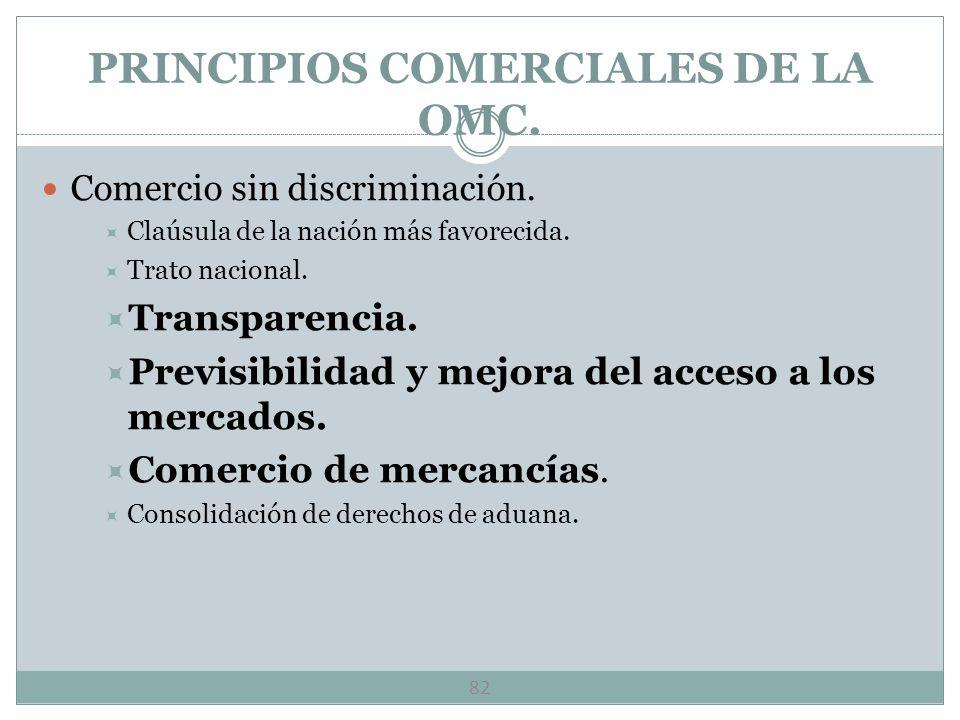 PRINCIPIOS COMERCIALES DE LA OMC.
