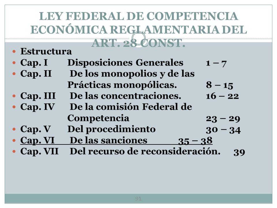 LEY FEDERAL DE COMPETENCIA ECONÓMICA REGLAMENTARIA DEL ART. 28 CONST.