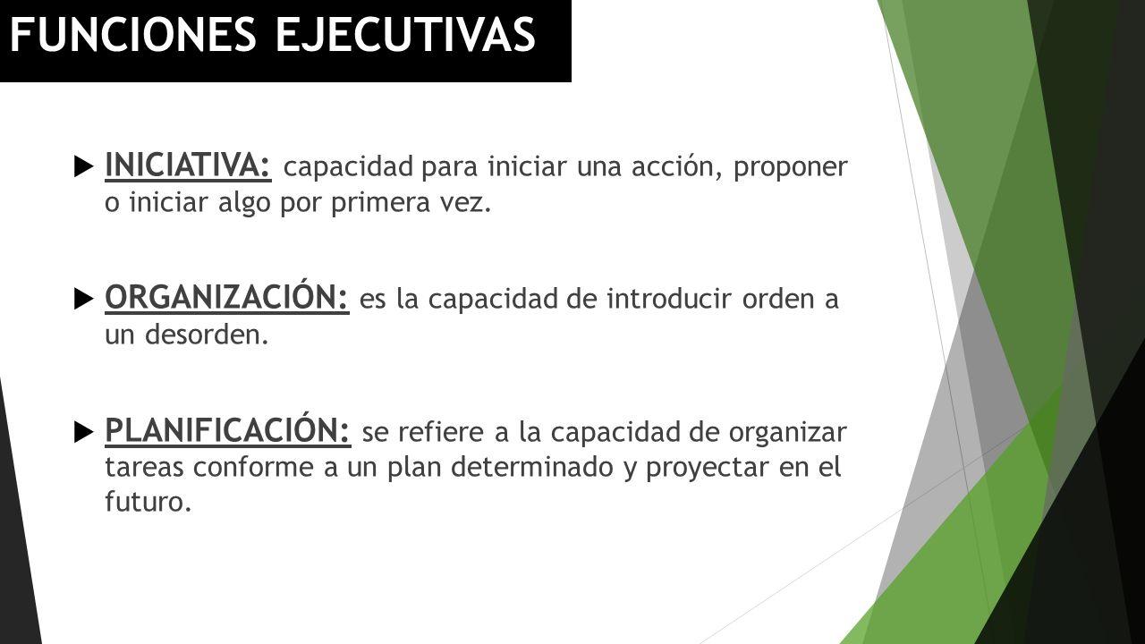 FUNCIONES EJECUTIVAS INICIATIVA: capacidad para iniciar una acción, proponer o iniciar algo por primera vez.