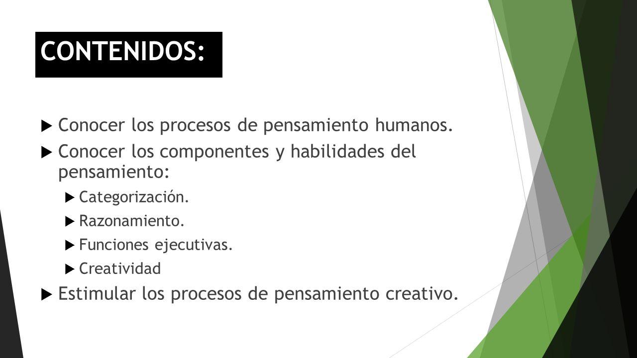 CONTENIDOS: Conocer los procesos de pensamiento humanos.