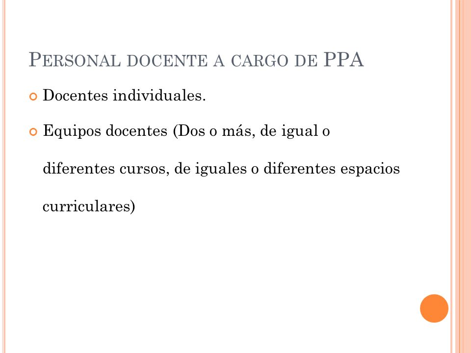 Personal docente a cargo de PPA