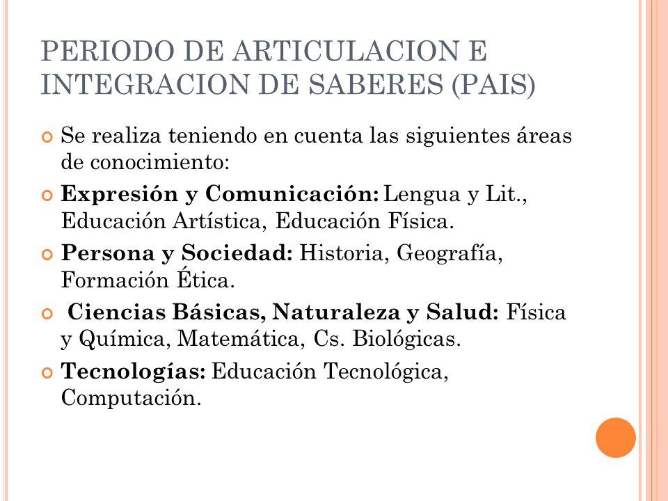 PERIODO DE ARTICULACION E INTEGRACION DE SABERES (PAIS)