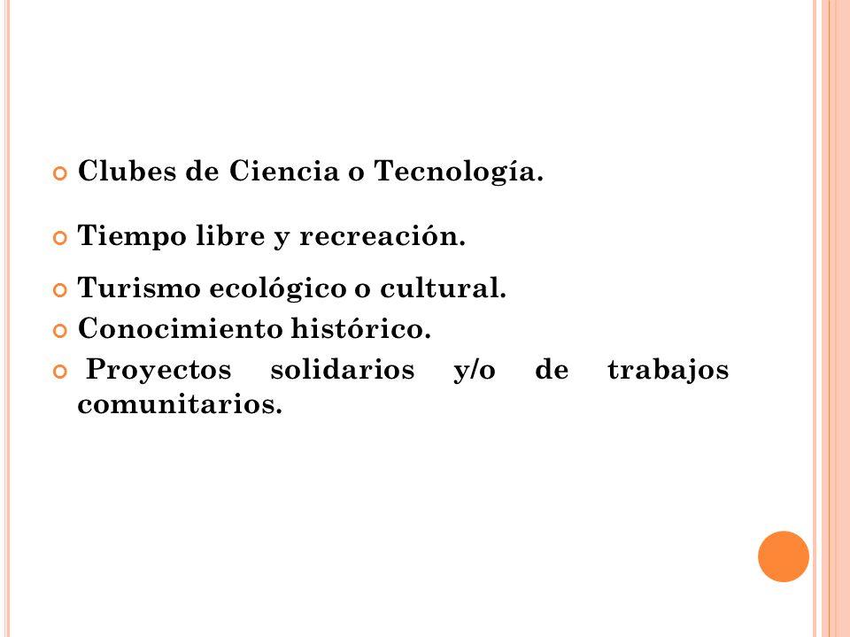 Clubes de Ciencia o Tecnología.