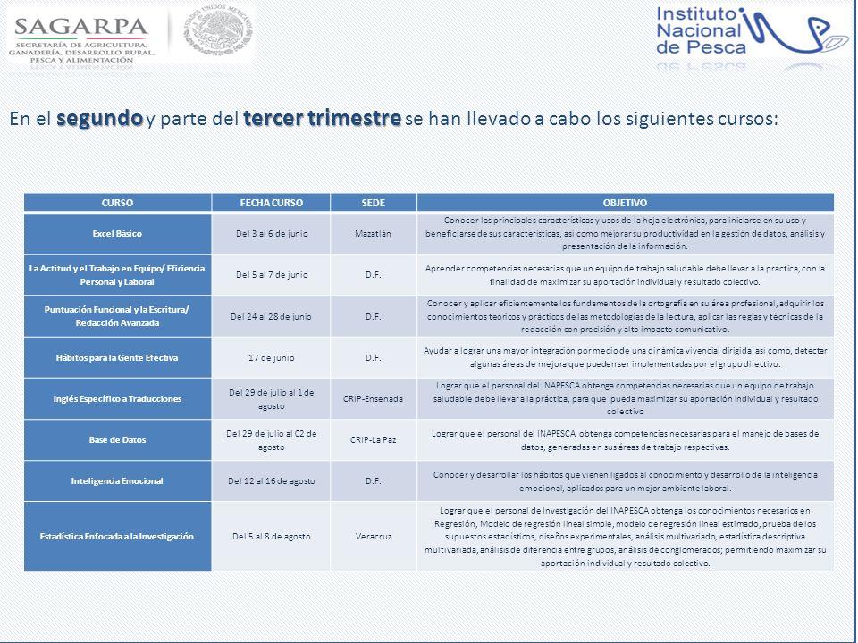 En el segundo y parte del tercer trimestre se han llevado a cabo los siguientes cursos: