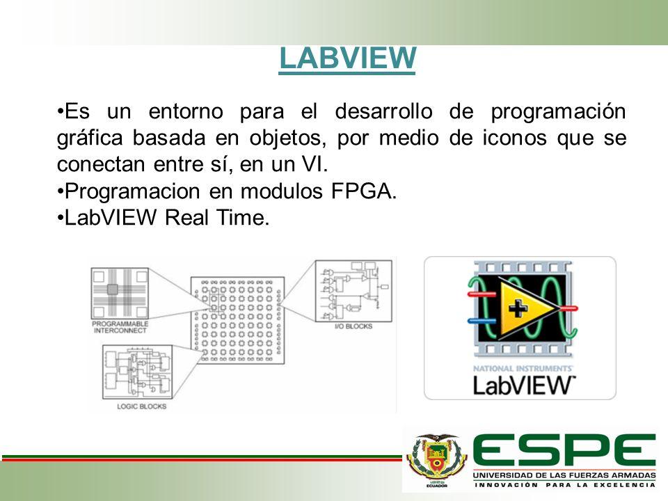 LABVIEW Es un entorno para el desarrollo de programación gráfica basada en objetos, por medio de iconos que se conectan entre sí, en un VI.