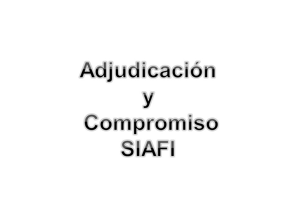 Adjudicación y Compromiso SIAFI
