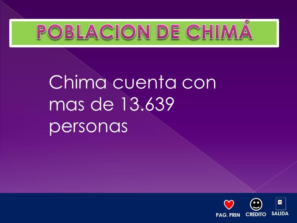 POBLACION DE CHIMÁ Chima cuenta con mas de 13.639 personas SALIDA