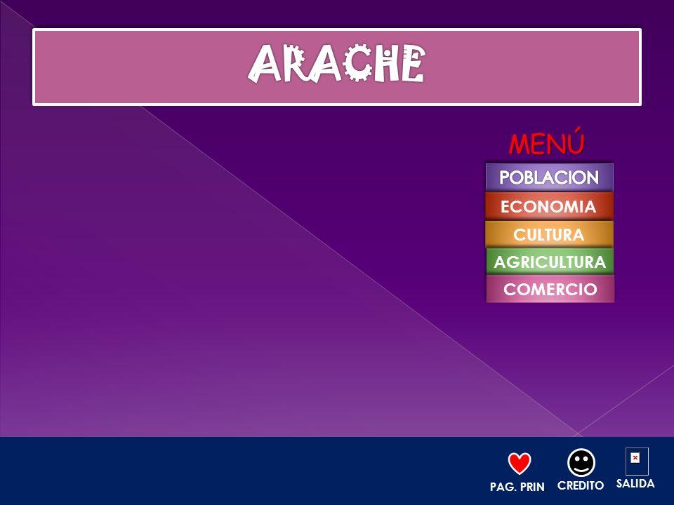 ARACHE MENÚ POBLACION ECONOMIA CULTURA AGRICULTURA COMERCIO SALIDA