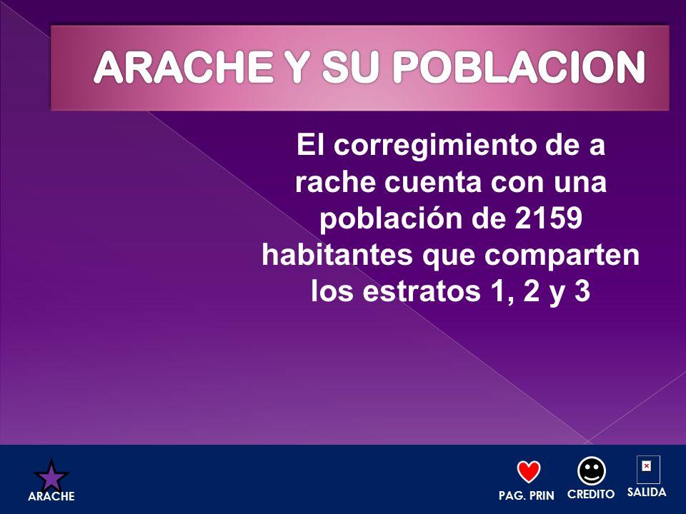 ARACHE Y SU POBLACION El corregimiento de a rache cuenta con una población de 2159 habitantes que comparten los estratos 1, 2 y 3.
