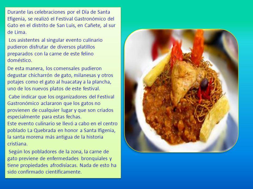 Durante las celebraciones por el Día de Santa Efigenia, se realizó el Festival Gastronómico del Gato en el distrito de San Luis, en Cañete, al sur de Lima.