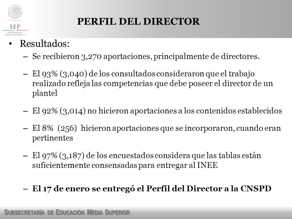 PERFIL DEL DIRECTOR Resultados: