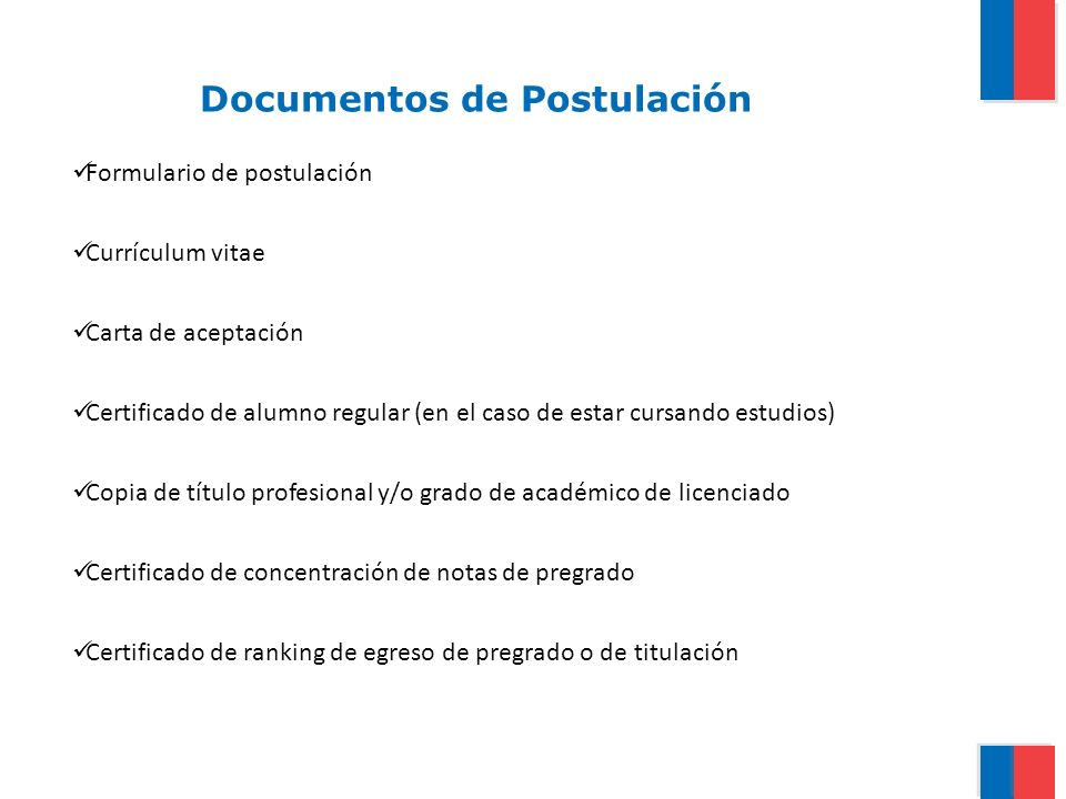 Documentos de Postulación