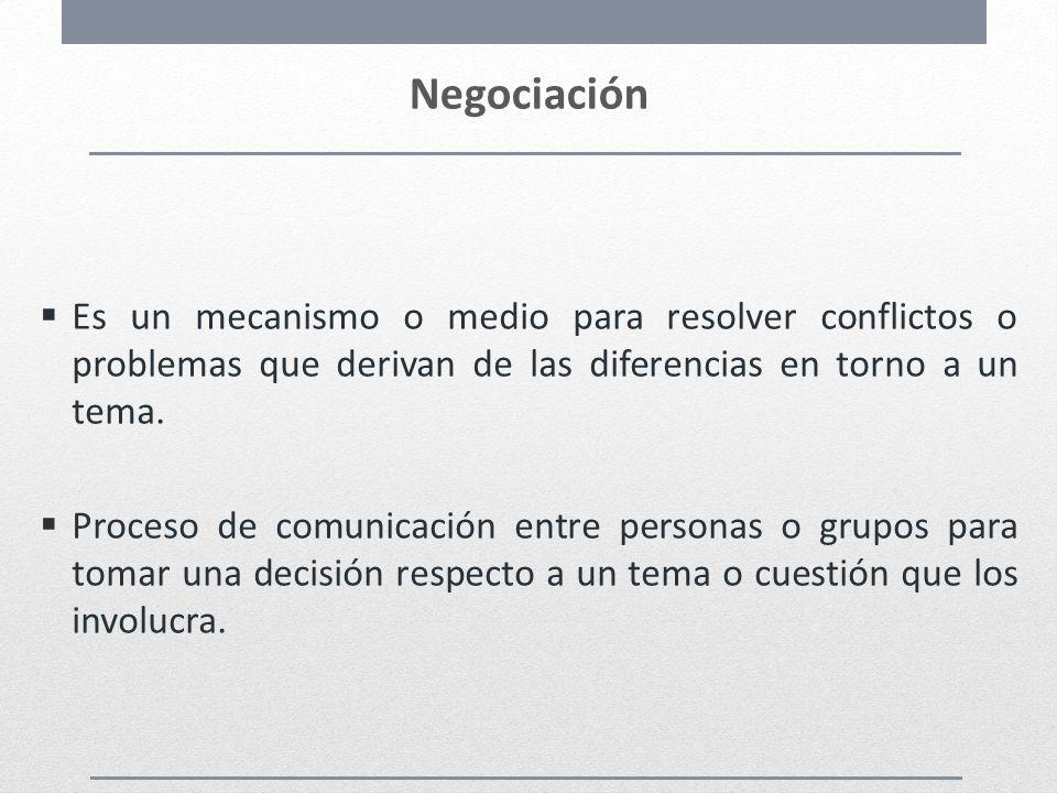 Negociación Es un mecanismo o medio para resolver conflictos o problemas que derivan de las diferencias en torno a un tema.
