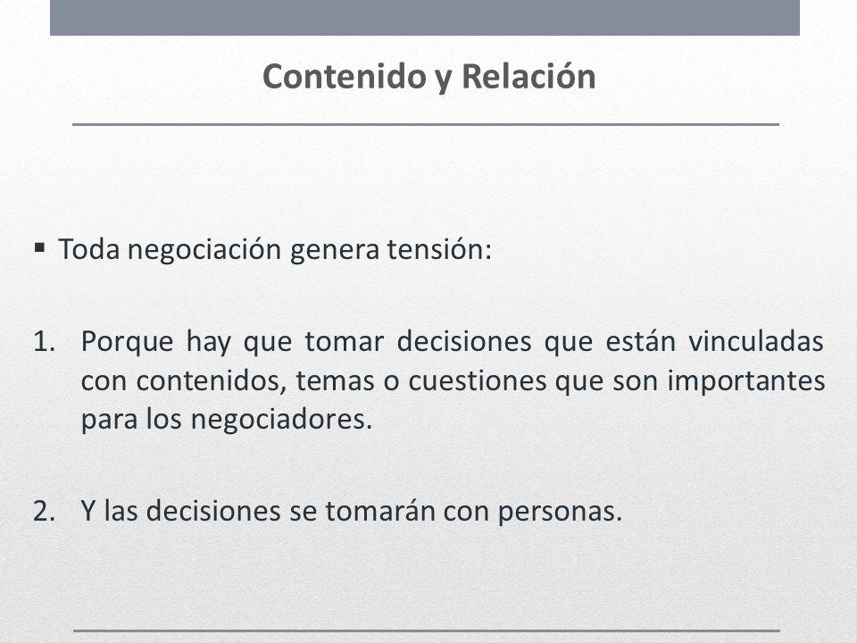 Contenido y Relación Toda negociación genera tensión: